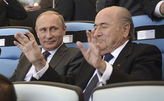 Президент России Владимир Путин и президент Международной федерации футбола (ФИФА) Йозеф Блаттер (слева направо)