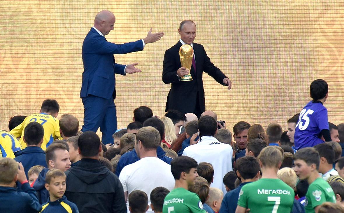 Владимир Путин на церемонии старта тура Кубка ЧМ-2018. Москва, «Лужники». 9 сентября 2017 года