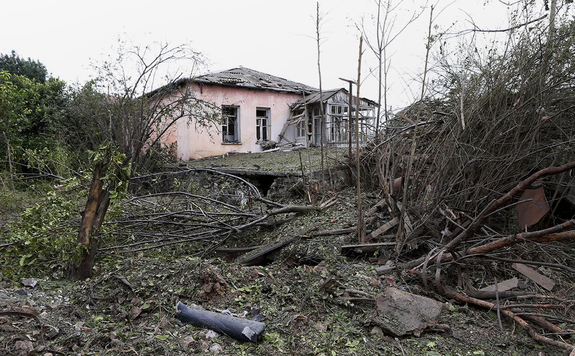 Пострадавший дом в городе Мартуни,Нагорный Карабах