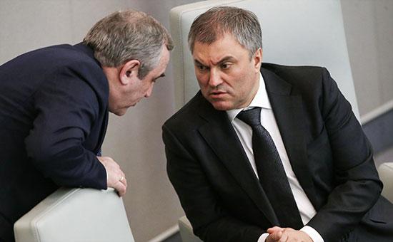 Сергей Неверов и Вячеслав Володин (слева направо)