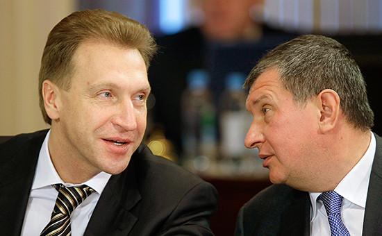 Первый вице-премьер России Игорь Шувалов и Игорь Сечин