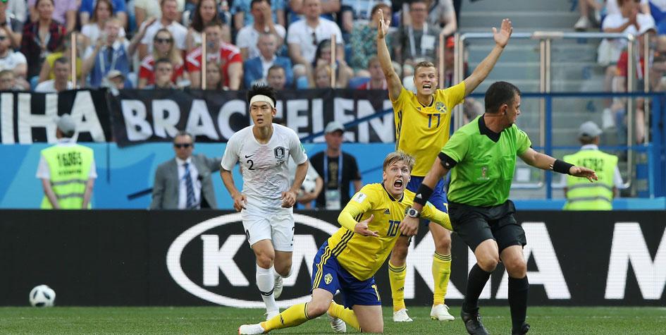 Шведы обыграли Корею за счет назначенного после видеопросмотра пенальти