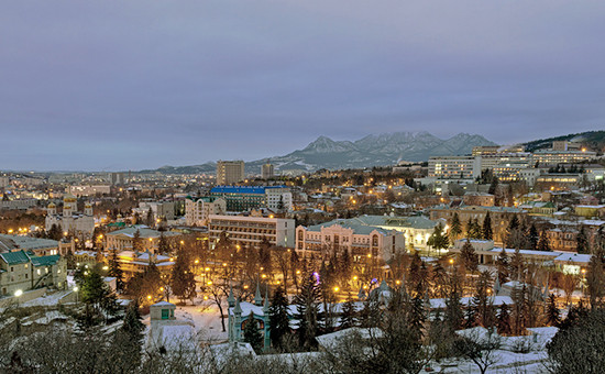 Вид на утренний зимний Пятигорск