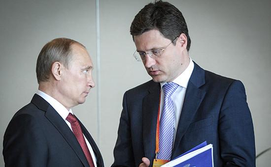 Президент России Владимир Путин иминистр энергетики РФ Александр Новак
