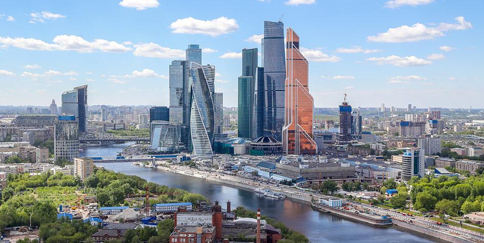 Вид нарайон Дорогомилово, Москву-реку иМосковский международный деловой центр «Москва-Сити»