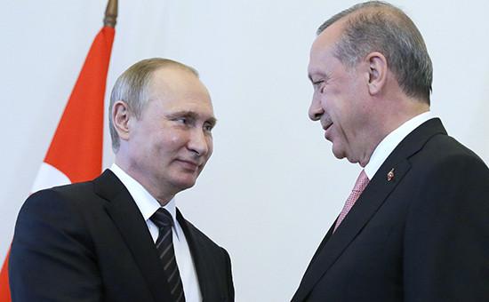 Встреча президента РФ Владимира Путина с президентом Турции РеджепомЭрдоганом в Санкт-Петербурге
