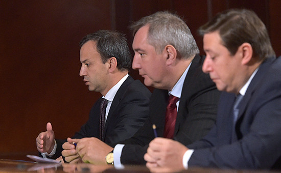 Вице-премьеры Аркадий Дворкович, Дмитрий Рогозин иАлександр Хлопонин (слева направо)