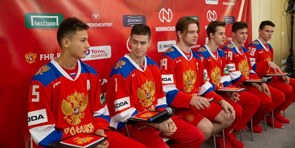 Хоккеисты сборной России на пресс-конференции перед отлетом в Хельсинки на Кубок Карьяла