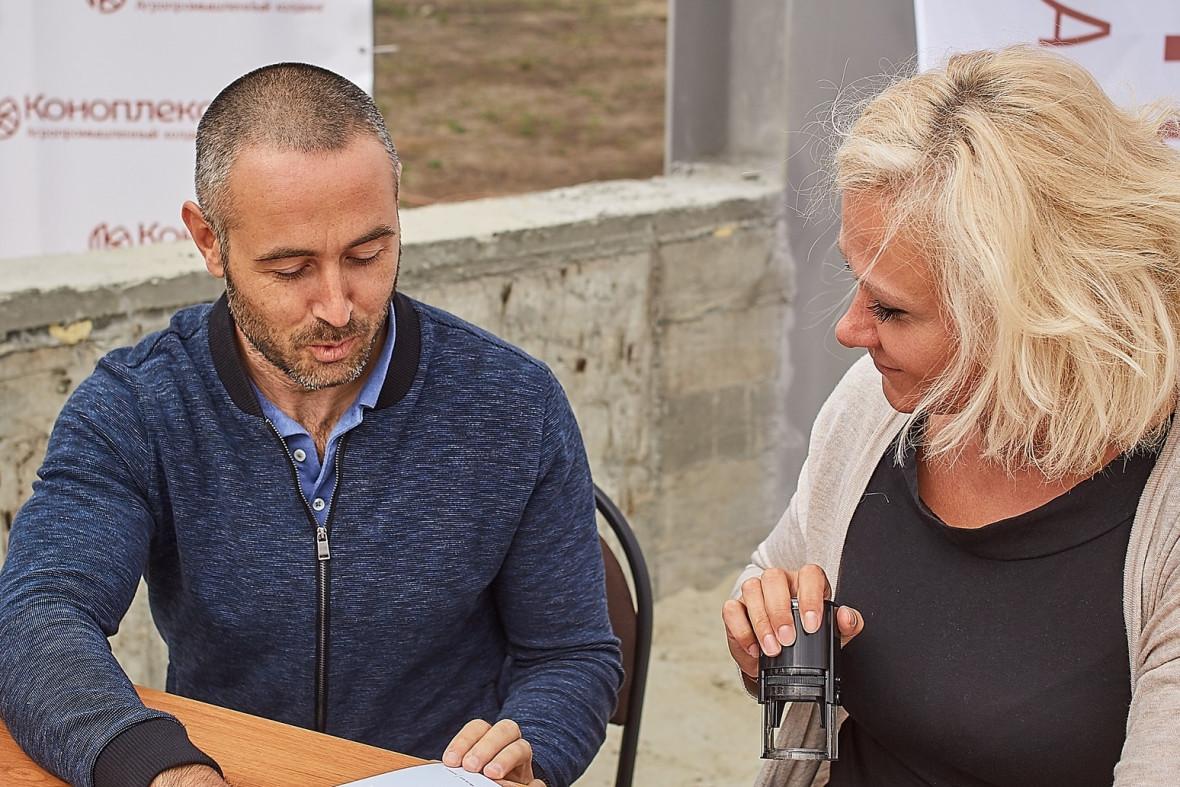 Основной владелец «Коноплекса» Евгений Скигин и гендиректор компании Милена Александрова