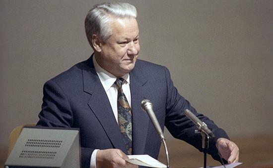Президент России Борис Ельцин во время заседания Верховного Совета РСФСР. Декабрь 1991 года