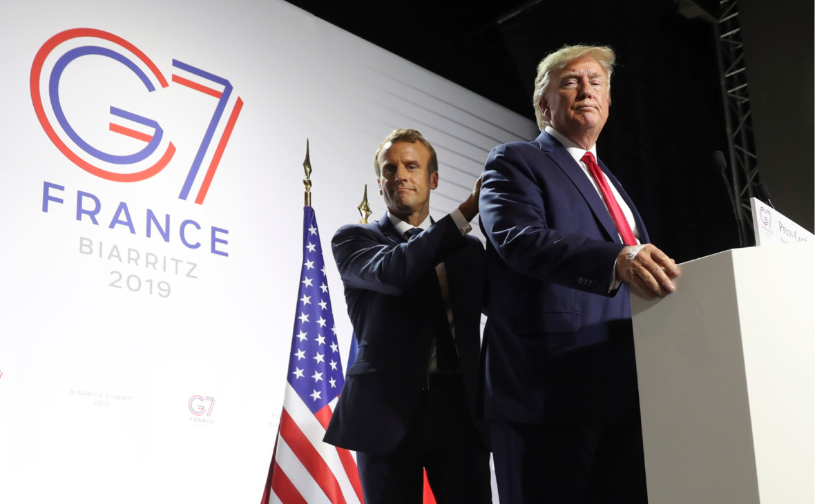 Президент ФранцииЭмманюэль Макрон и президент США Дональд Трамп