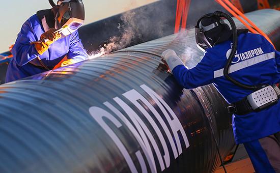 Сварка звена магистрального газопровода «Сила Сибири», 1 сентября 2014 года