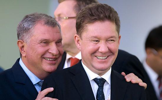Главный исполнительный директор ПАО «Роснефть»Игорь Сечин и председатель правления ПАО «Газпром» Алексей Миллер (слева направо)