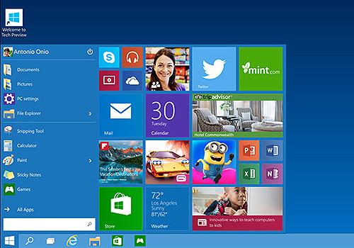 Стартовое меню Windows 10