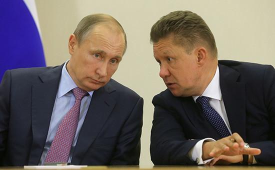 Президент РФ Владимир Путин ипредседатель правления компании «Газпром» Алексей Миллер