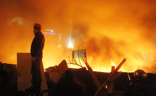 Во время массовых беспорядков наплощади Независимости вКиеве. 2014 год