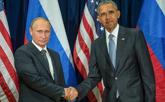 Президент России Владимир Путин и президент США Барак Обама (слева направо)