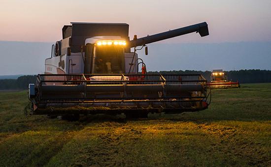 Уборка урожая озимой пшеницы в Новосибирской области. Август 2016 года