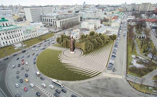 Скриншот проекта архитектурного бюро Ai Architects, концепция которого стала победителем в конкурсе проектов комплексного благоустройства Боровицкой площади и размещения памятника князю Владимиру