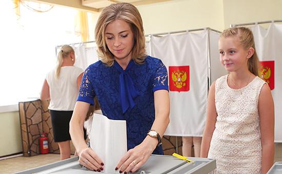 Наталья Поклонская вединый день голосования наизбирательном участке вСимферополе, 18 сентября 2016 года
