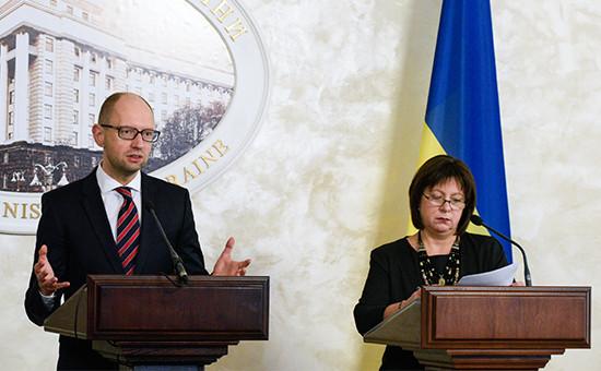 Премьер-министр Украины Арсений Яценюк иминистр финансов Наталья Яресько