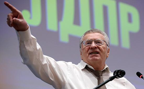 Лидер ЛДПР Владимир Жириновский на ХХХсъезде партиив Москве