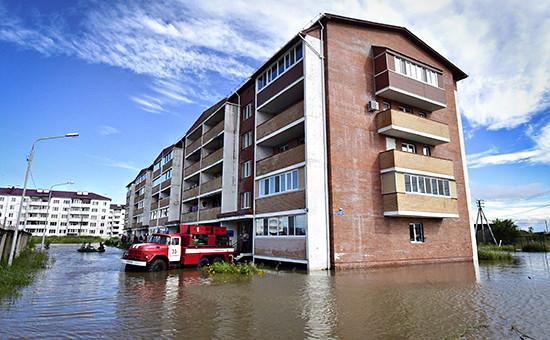 Подтопленный врезультатетайфуна «Лайонрок» дом вУссурийске  