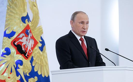 Президент России Владимир Путин во время выступления с ежегодным посланием к Федеральному собранию в Кремле