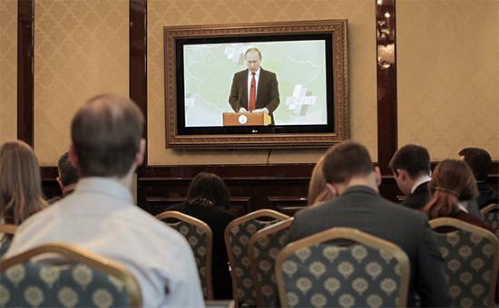 Во время выступления президента Владимира Путина насъезде Российского союза промышленников ипредпринимателей 24 марта 2016 года