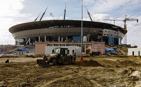 Строительство стадиона «Зенит-Арена» вСанкт-Петербурге, апрель 2016 года