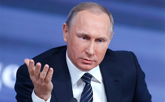 Президент России Владимир Путин во время традиционной большой пресс-конференции. 17 декабря 2015 года