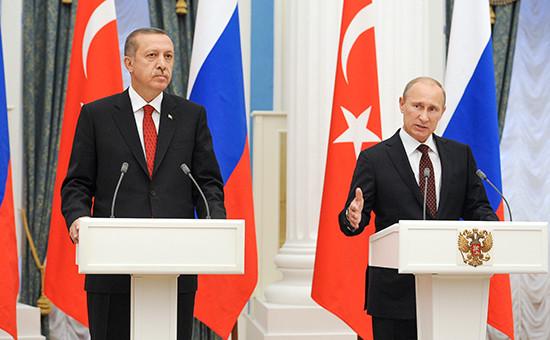 Президент России Владимир Путин и президент Турции Реджеп Тайип Эрдоган (справа налево) во время пресс-конференции, 2012 год