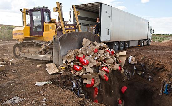 Уничтожение импортного сыра на полигоне у села Подгородняя Покровка