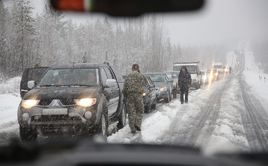 Пробка на одной из федеральных трасс России