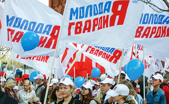 «Молодая гвардия Единой России» во время молодежной акции-митинга