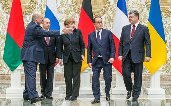 Встреча президента России Владимира Путина, лидера Украины Петра Порошенко, канцлера Германии Ангелы Меркель и французского президента Франсуа Олланда в Минске