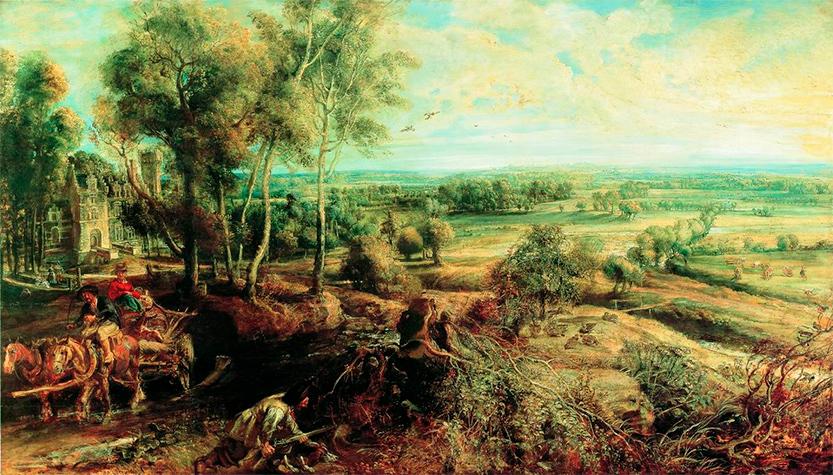Картина Рубенса «Осенний пейзаж с видом на замок Стен». Холст, масло. 1636 год