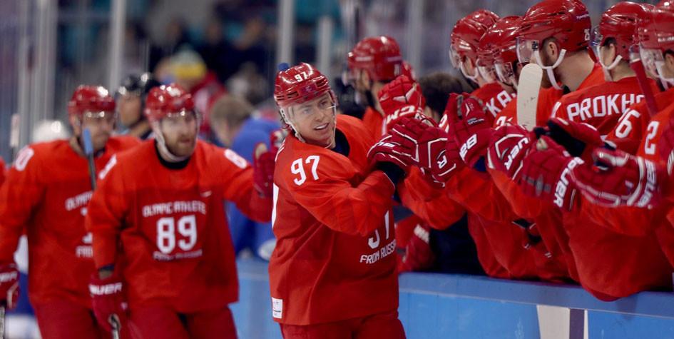 Российские хоккеисты одержали разгромную победу в четвертьфинале Игр
