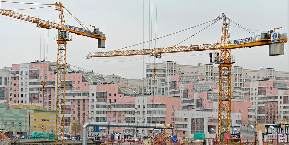 Вид на стройплощадку в районе Ходынского поля
