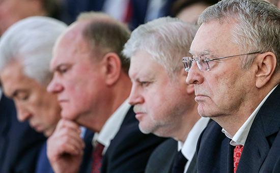 Владимир Жириновский, Сергей Миронов, Геннадий Зюганов и Владимир Васильев (справа налево)
