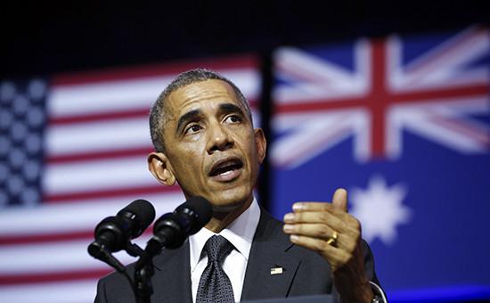 Президент США Барак Обама выступает в университете Квинсленда в рамках саммита G20 в Брисбене