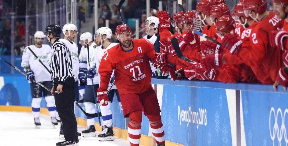 Российские хоккеисты забросили восемь шайб в матче Олимпиады