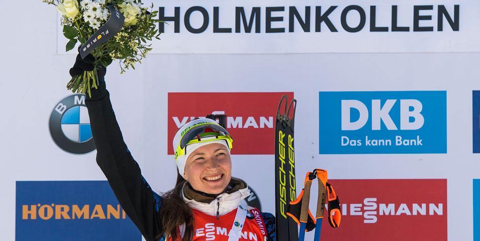 Дарья Домрачева выиграла гонку преследования на этапе Кубка мира