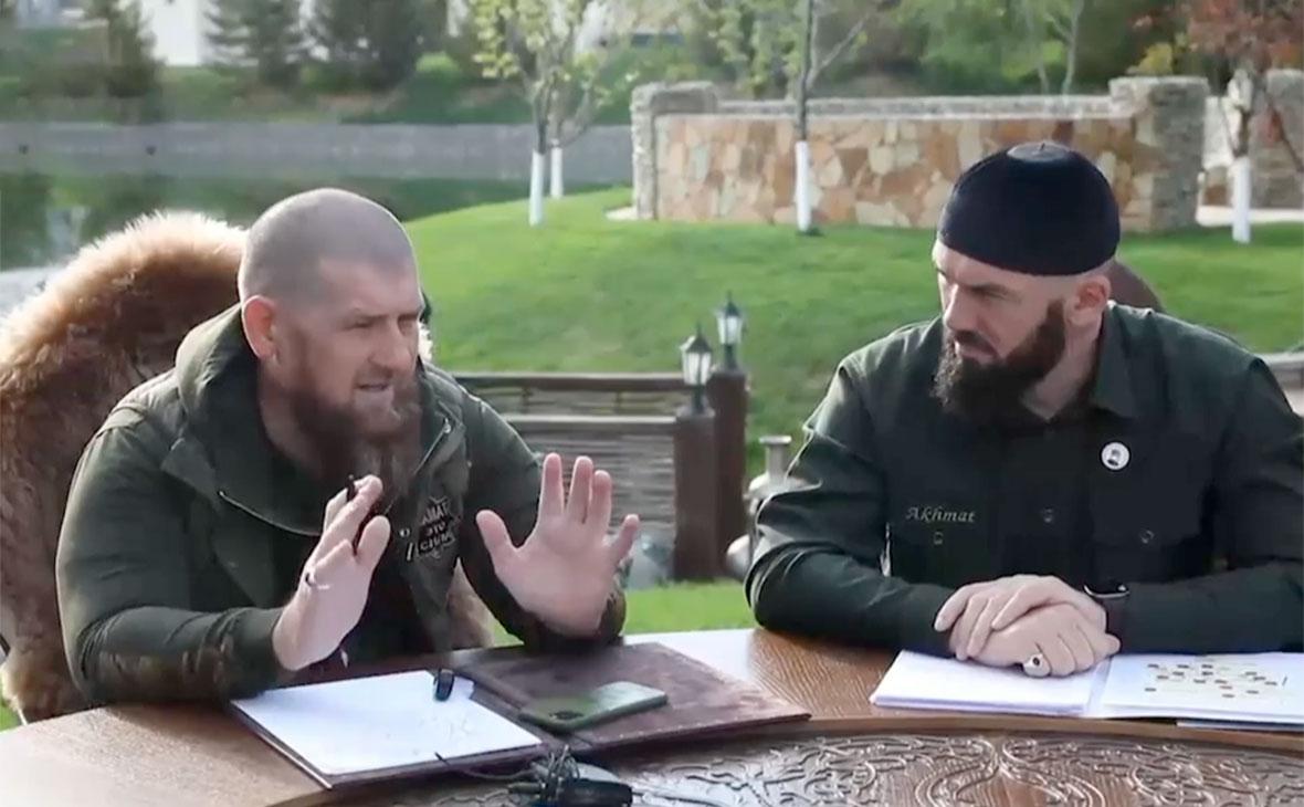 Рамзан Кадыров во время заседания штабапо борьбе с COVID-19