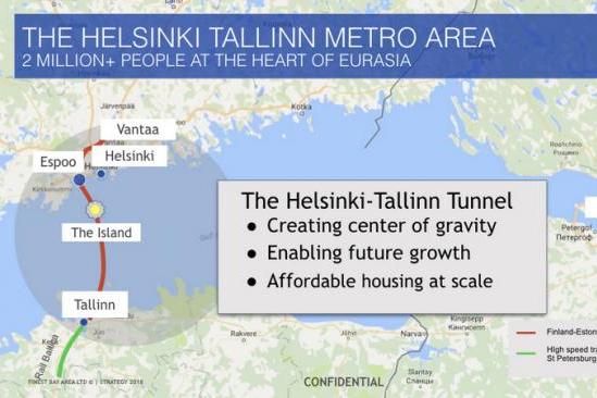 Планируемый маршрут тоннеля между Финляндией и Эстонией