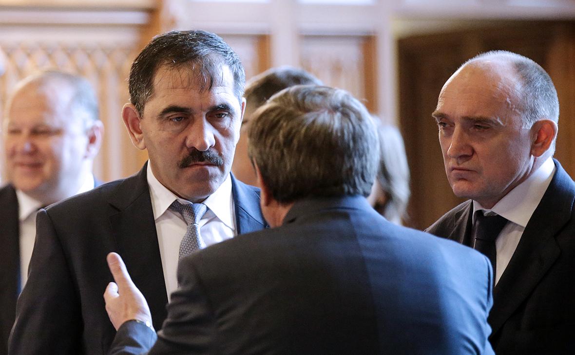 Глава Ингушетии Юнус-Бек Евкуров (слева)и губернатор Челябинской области Борис Дубровский (справа)