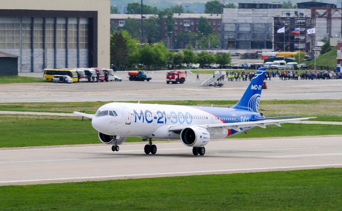 Первый полет нового пассажирского самолета МС-21-300 в мае 2017 года