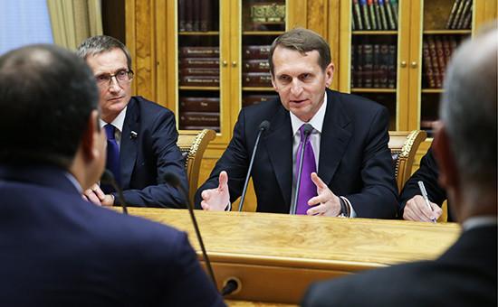 Вице-спикер Госдумы РФ Николай Левичев и председатель Государственной Думы Сергей Нарышкин (слева направо)