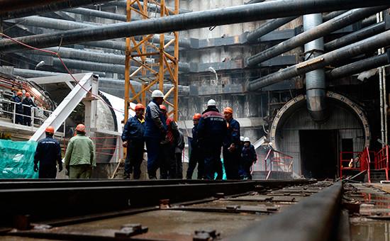 Вид настроительство одной изстанций Московского метрополитена