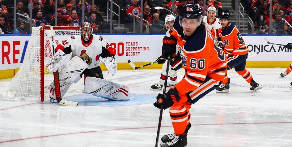Маркус Гранлунд (№ 60) в матче НХЛ против «Оттава Сенаторз»